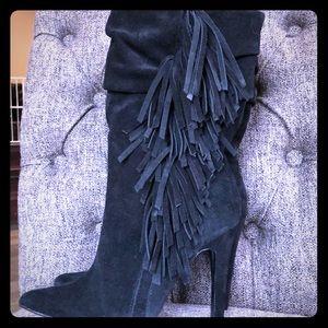 Black suede fringe high heel boots